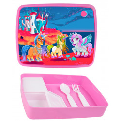 Personalised Plastic Lunch Box PLB17 Unicorn Castle