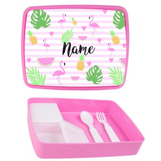 Personalised Plastic Lunch Box PLB2 Flamingo
