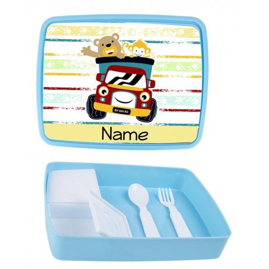 Personalised Plastic Lunch Box PLB3 Happy Animals