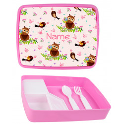 Personalised Plastic Lunch Box PLB4 Owls