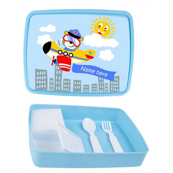 Personalised Plastic Lunch Box PLB8 Plane