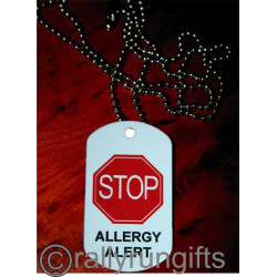 PERSONALISED Allergy Tag NECKLACE with ball chain CUSTOM printed