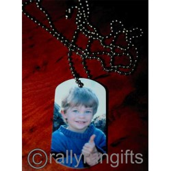 PERSONALISED Dog tag PHOTO NECKLACE with ball chain CUSTOM printed