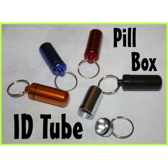 Aluminium PILL BOX case ID TUBE container Address holder TAG Luggage
