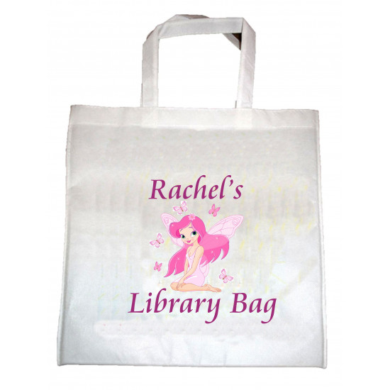 PERSONALISED White LIBRARY TOTE BAG GIRLS & BOYS