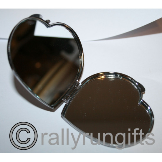 PERSONALISED Compact Mirror HEART Shape