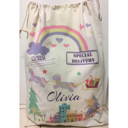 Personalised Santa Sack - Unicorn Santa Sleigh