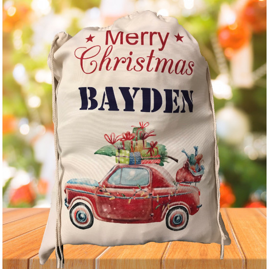 Personalised Santa Sack - Retro Car 29