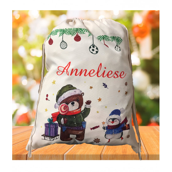 Personalised Santa Sack - Teddy Christmas 30
