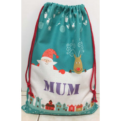 Personalised Santa Sack - Double Sided - green Santa