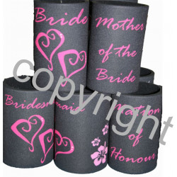 WEDDING STUBBY holder coolers Bridesmaid BRIDE Hearts
