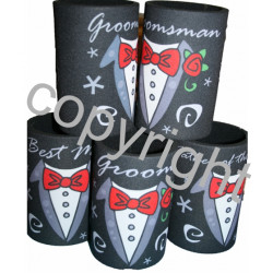 WEDDING STUBBY holder / coolers Groomsman Bestman TUX