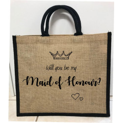 Hessain Jute Tote Bag - HJTB10 Will you be my Maid of honour