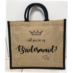 Hessain Jute Tote Bag - HJTB02 Will you be my Bridesmaid