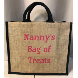 Hessain Jute Tote Bag - HJTB03 Nanny's bag of treats