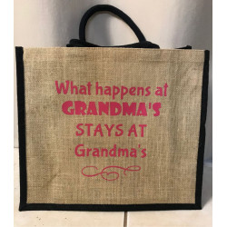 Hessain Jute Tote Bag - HJTB05 What happens at grandmas