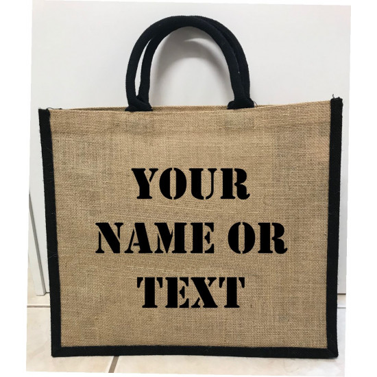 Hessain Jute Tote Bag - HJTB08 Personalised Text