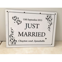 Personalised Wedding Car Decoration Door Sign Just Married WP1