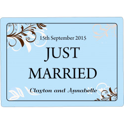 Personalised Wedding Car Decoration Door Sign Blue Floral WP10