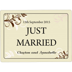 Personalised Wedding Car Decoration Door Sign Beige Floral WP2