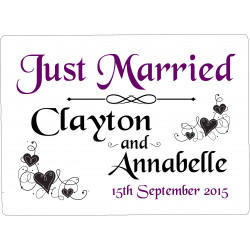Personalised Wedding Car Decoration Door Sign Plum Hearts WP9