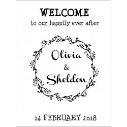 Personalised Metal Wedding Welcome Sign WMS16